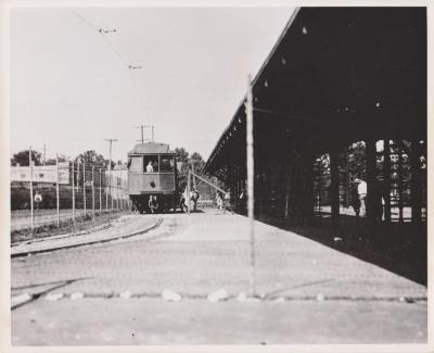 Photograph, Electric Streetcar at Station