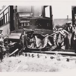 Photograph, Crash Scene After Collision Between Auto and #113 Interurban Grand Rapids/Jenison Train