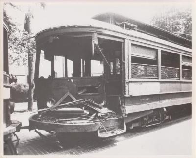 Photograph, Damaged Streetcar