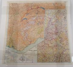 Map In Pouch With Compass, Northern Europe In World War II