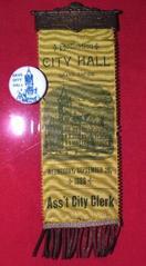 Ribbon, City Hall Dedication, Grand Rapids, Michigan, 9-26-1888, Assistant City Clerk