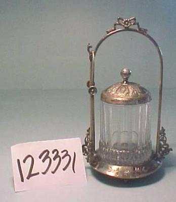 Pickle Jar With Lid, Tongs, And Base,  4 Pcs. (possibly Sugar Jar)