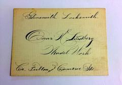 Cards. (16) Trade Cards In Script, Oscar Lindberg, Gunsmith, Locksmith