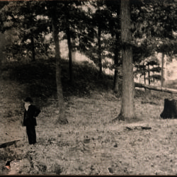 Photograph, Dr. E. S. Holmes In Front Of Norton Indian Mounds