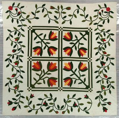 Quilt, Top Only, Appliqued And Pieced, Tulip Variation